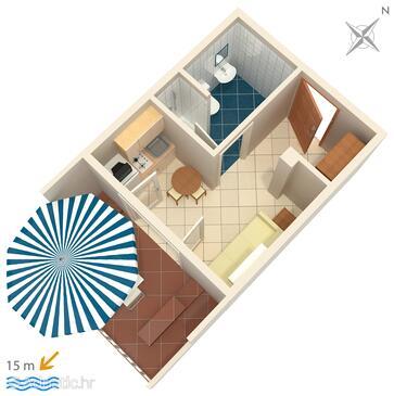 Novalja, Půdorys v ubytování typu studio-apartment, WiFi.