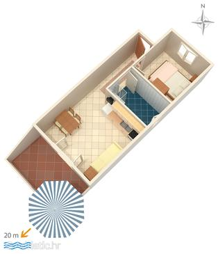 Stara Novalja, План в размещении типа apartment.