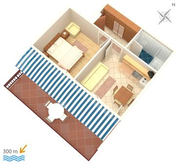 Mandre, Plan in the apartment, (pet friendly) and WiFi.