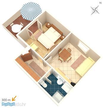 Mandre, Grundriss in folgender Unterkunftsart apartment, Haustiere erlaubt und WiFi.