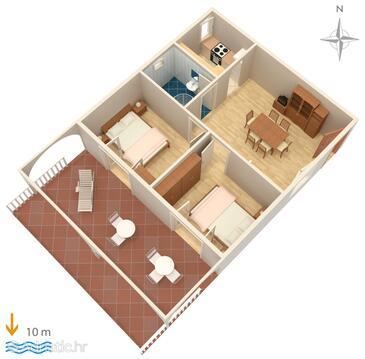 Stara Novalja, Plan in the apartment, dopusteni kucni ljubimci i WIFI.