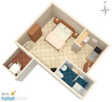 Zubovići, План в размещении типа studio-apartment, WiFi.