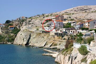 Zubovići, Pag, Obiekt 4065 - Kwatery przy morzu ze żwirową plażą.