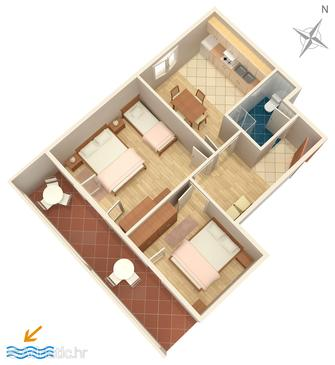 Novalja, Plan in the apartment, (pet friendly) and WiFi.