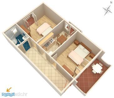 Novalja, Půdorys v ubytování typu apartment, domácí mazlíčci povoleni a WiFi.
