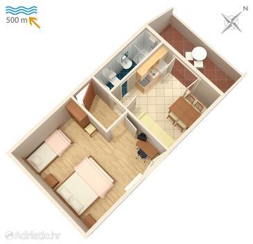 Njivice, Plan in the apartment, dopusteni kucni ljubimci i WIFI.