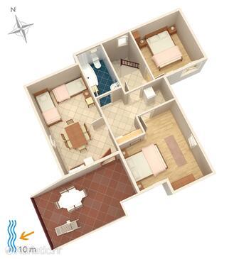 Stara Novalja, Plan in the apartment.