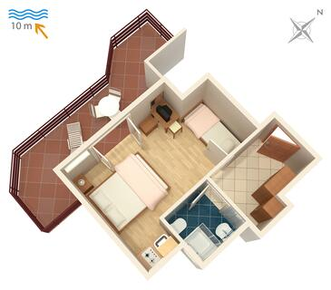 Stara Novalja, Plan in the studio-apartment.