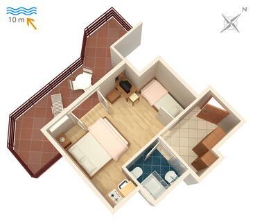 Stara Novalja, Plan in the studio-apartment.
