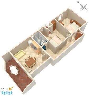 Kustići, Plan kwatery w zakwaterowaniu typu apartment, WIFI.