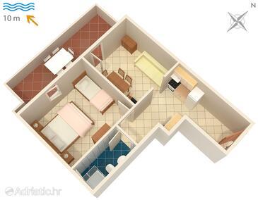 Kustići, Půdorys v ubytování typu apartment, WiFi.