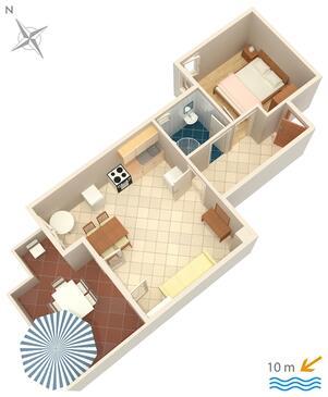 Kustići, Pôdorys v ubytovacej jednotke apartment, WIFI.