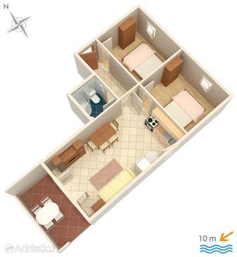 Kustići, Plan in the apartment, WIFI.