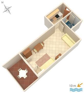 Kustići, Plan kwatery w zakwaterowaniu typu studio-apartment, WIFI.