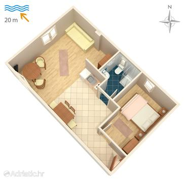 Njivice, Plan in the apartment, dopusteni kucni ljubimci.