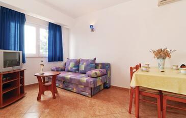 Mandre, Living room in the apartment, dostupna klima, dopusteni kucni ljubimci i WIFI.
