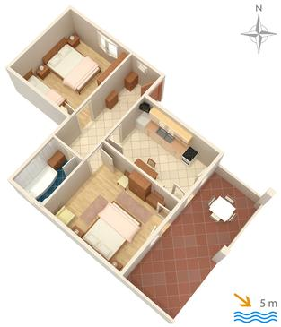 Mandre, Plan in the apartment, dopusteni kucni ljubimci i WIFI.