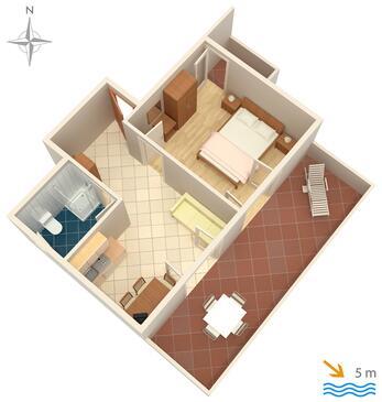 Mandre, Pôdorys v ubytovacej jednotke apartment, domáci miláčikovia povolení a WiFi.