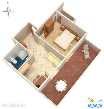 Mandre, Nacrt u smještaju tipa apartment, kućni ljubimci dozvoljeni i WiFi.