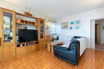 Mandre, Obývacia izba v ubytovacej jednotke apartment, klimatizácia k dispozícii a WiFi.