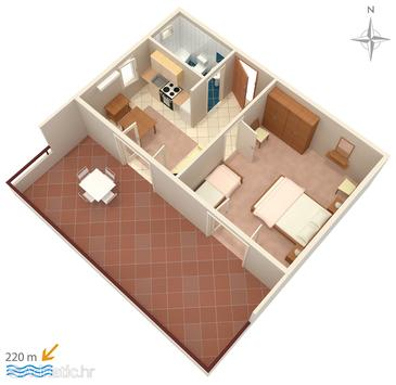 Novalja, Plan in the apartment.