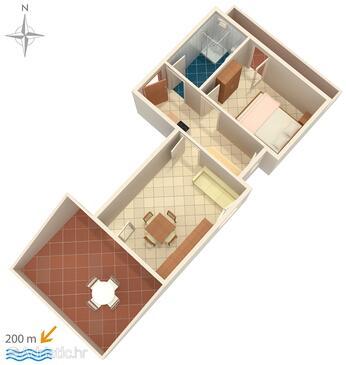 Potočnica, Půdorys v ubytování typu apartment, WiFi.