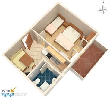 Novalja, Plan in the apartment, dopusteni kucni ljubimci i WIFI.