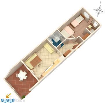 Mandre, Půdorys v ubytování typu apartment, domácí mazlíčci povoleni a WiFi.