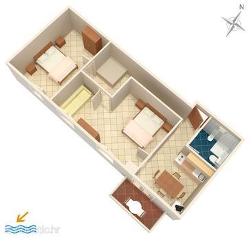 Košljun, Plan dans l'hébergement en type apartment, WiFi.