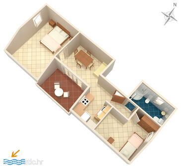 Košljun, Plan in the apartment, WiFi.