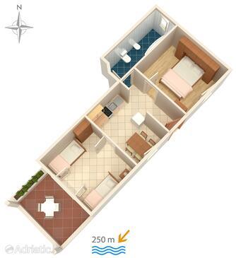 Pag, Půdorys v ubytování typu apartment, domácí mazlíčci povoleni a WiFi.