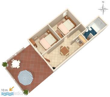 Novalja, Půdorys v ubytování typu apartment, domácí mazlíčci povoleni.