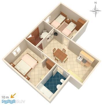 Novalja, План в размещении типа apartment, Домашние животные допускаются.