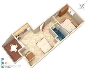Metajna, Plan in the apartment, dopusteni kucni ljubimci i WIFI.