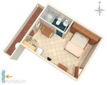 Metajna, Plan in the studio-apartment, WiFi.
