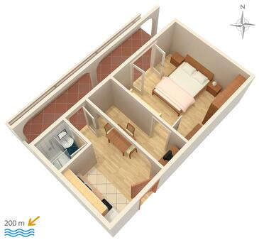 Metajna, Plan kwatery w zakwaterowaniu typu apartment, dopusteni kucni ljubimci i WIFI.