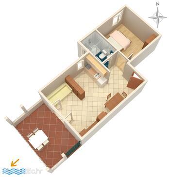 Novalja, План в размещении типа apartment, Домашние животные допускаются и WiFi.