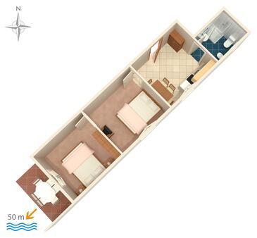 Zubovići, Půdorys v ubytování typu apartment, domácí mazlíčci povoleni a WiFi.