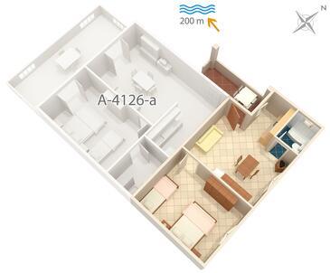Metajna, Plan kwatery w zakwaterowaniu typu apartment, WIFI.