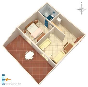 Metajna, Grundriss in folgender Unterkunftsart apartment, Haustiere erlaubt.