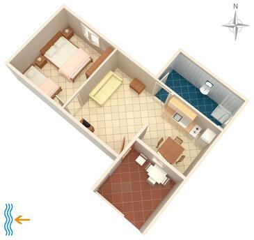 Metajna, Plan in the apartment, dopusteni kucni ljubimci.