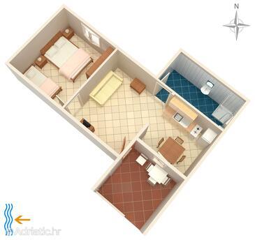 Metajna, Plan in the apartment, (pet friendly).