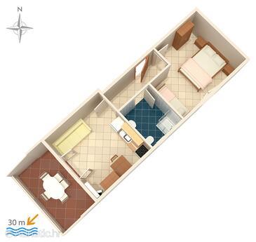 Kustići, Půdorys v ubytování typu apartment, domácí mazlíčci povoleni.