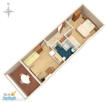 Kustići, План в размещении типа apartment, Домашние животные допускаются.