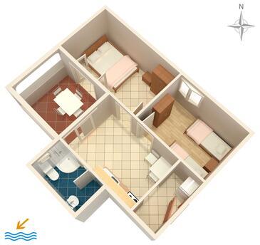 Kustići, Plan kwatery w zakwaterowaniu typu apartment, dopusteni kucni ljubimci.