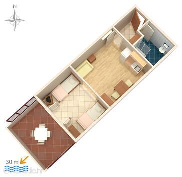 Kustići, План в размещении типа studio-apartment, Домашние животные допускаются.