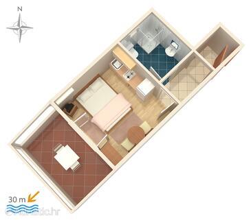 Kustići, Půdorys v ubytování typu studio-apartment, domácí mazlíčci povoleni.