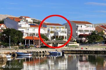 Kustići, Pag, Объект 4129 - Апартаменты вблизи моря с галечным пляжем.