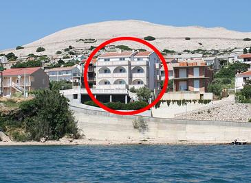 Zubovići, Pag, Obiekt 4130 - Apartamenty przy morzu z piaszczystą plażą.