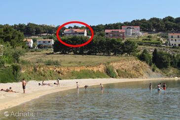 Vlašići, Pag, Objekt 4131 - Ubytování s písčitou pláží.